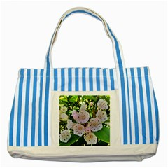 Amazing Garden Flowers 35 Striped Blue Tote Bag  by MoreColorsinLife