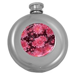 Awesome Flowers Red Round Hip Flask (5 Oz)