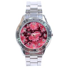 Awesome Flowers Red Stainless Steel Men s Watch