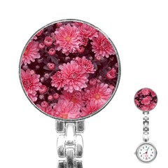 Awesome Flowers Red Stainless Steel Nurses Watches by MoreColorsinLife