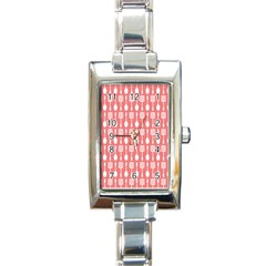 Coral And White Kitchen Utensils Pattern Rectangle Italian Charm Watches by creativemom