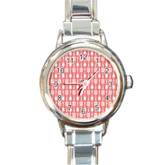 Coral And White Kitchen Utensils Pattern Round Italian Charm Watches by creativemom