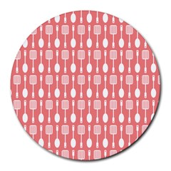 Coral And White Kitchen Utensils Pattern Round Mousepads by creativemom