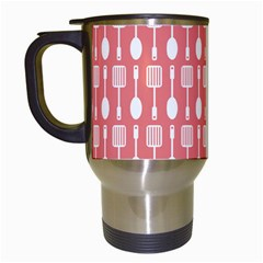 Coral And White Kitchen Utensils Pattern Travel Mugs (white) by creativemom