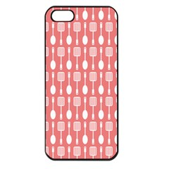 Coral And White Kitchen Utensils Pattern Apple Iphone 5 Seamless Case (black)