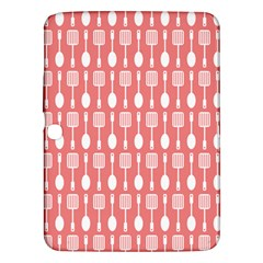 Coral And White Kitchen Utensils Pattern Samsung Galaxy Tab 3 (10 1 ) P5200 Hardshell Case  by creativemom