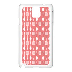 Coral And White Kitchen Utensils Pattern Samsung Galaxy Note 3 N9005 Case (white) by creativemom
