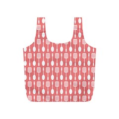 Coral And White Kitchen Utensils Pattern Full Print Recycle Bags (s)  by creativemom