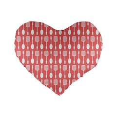 Coral And White Kitchen Utensils Pattern Standard 16  Premium Flano Heart Shape Cushions by creativemom