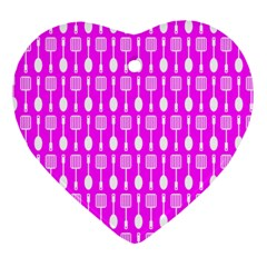 Purple Spatula Spoon Pattern Ornament (heart)  by creativemom