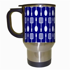 Indigo Spatula Spoon Pattern Travel Mugs (white) by creativemom