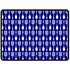 Indigo Spatula Spoon Pattern Double Sided Fleece Blanket (large)  by creativemom