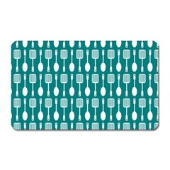 Teal And White Spatula Spoon Pattern Magnet (rectangular) by creativemom