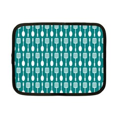 Teal And White Spatula Spoon Pattern Netbook Case (small)  by creativemom