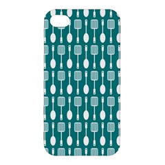 Teal And White Spatula Spoon Pattern Apple Iphone 4/4s Premium Hardshell Case by creativemom