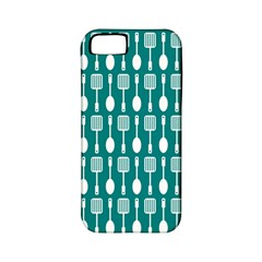 Teal And White Spatula Spoon Pattern Apple Iphone 5 Classic Hardshell Case (pc+silicone) by creativemom