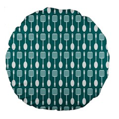 Teal And White Spatula Spoon Pattern Large 18  Premium Round Cushions by creativemom