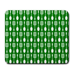 Green And White Kitchen Utensils Pattern Large Mousepads by creativemom