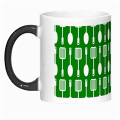 Green And White Kitchen Utensils Pattern Morph Mugs by creativemom