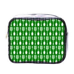 Green And White Kitchen Utensils Pattern Mini Toiletries Bags by creativemom