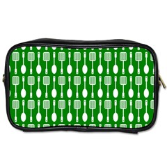 Green And White Kitchen Utensils Pattern Toiletries Bags 2 Side by creativemom
