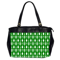 Green And White Kitchen Utensils Pattern Office Handbags (2 Sides)  by creativemom