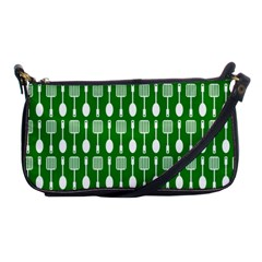 Green And White Kitchen Utensils Pattern Shoulder Clutch Bags by creativemom