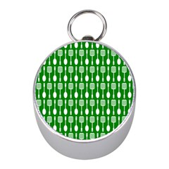 Green And White Kitchen Utensils Pattern Mini Silver Compasses by creativemom