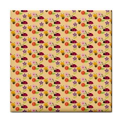 Colorful Ladybug Bess And Flowers Pattern Face Towel