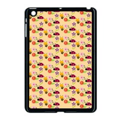 Colorful Ladybug Bess And Flowers Pattern Apple Ipad Mini Case (black)