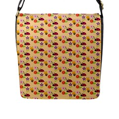 Colorful Ladybug Bess And Flowers Pattern Flap Messenger Bag (l)  by creativemom