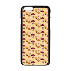 Colorful Ladybug Bess And Flowers Pattern Apple Iphone 6 Black Enamel Case by creativemom