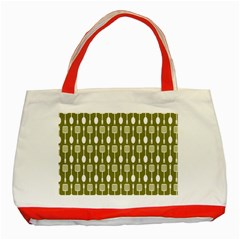 Olive Green Spatula Spoon Pattern Classic Tote Bag (red)  by creativemom