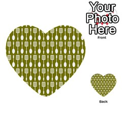 Olive Green Spatula Spoon Pattern Multi Purpose Cards (heart)  by creativemom