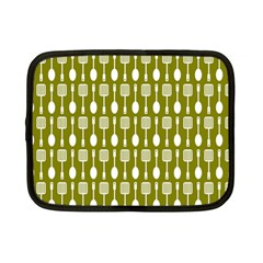 Olive Green Spatula Spoon Pattern Netbook Case (small)  by creativemom