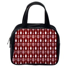 Red And White Kitchen Utensils Pattern Classic Handbags (one Side) by creativemom