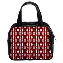 Red And White Kitchen Utensils Pattern Classic Handbags (2 Sides)