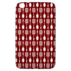 Red And White Kitchen Utensils Pattern Samsung Galaxy Tab 3 (8 ) T3100 Hardshell Case  by creativemom