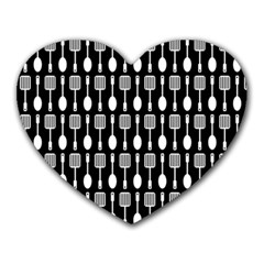 Black And White Spatula Spoon Pattern Heart Mousepads by creativemom