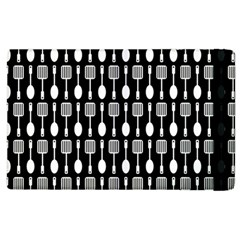Black And White Spatula Spoon Pattern Apple Ipad 2 Flip Case by creativemom