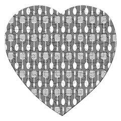 Gray And White Kitchen Utensils Pattern Jigsaw Puzzle (heart) by creativemom