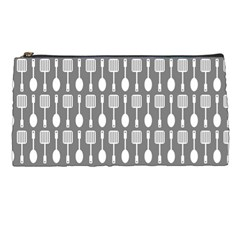 Gray And White Kitchen Utensils Pattern Pencil Cases by creativemom