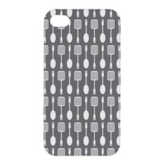 Gray And White Kitchen Utensils Pattern Apple Iphone 4/4s Premium Hardshell Case by creativemom