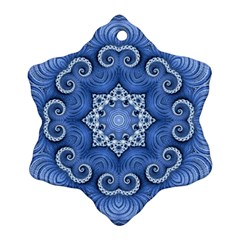 Awesome Kaleido 07 Blue Snowflake Ornament (2 Side) by MoreColorsinLife