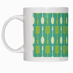 Spatula Spoon Pattern White Mugs