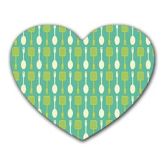 Spatula Spoon Pattern Heart Mousepads by creativemom
