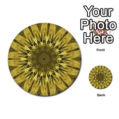 Kaleido Flower,golden Multi Purpose Cards (round)  by MoreColorsinLife