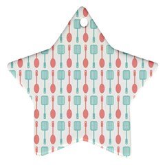 Spatula Spoon Pattern Star Ornament (two Sides)  by creativemom