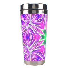 Kaleido Art, Pink Fractal Stainless Steel Travel Tumblers by MoreColorsinLife