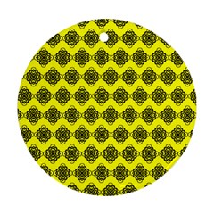 Abstract Knot Geometric Tile Pattern Round Ornament (two Sides)  by creativemom